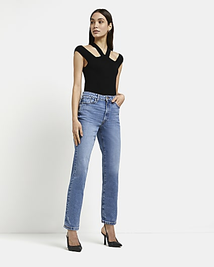 Blue high waisted stretch straight jeans
