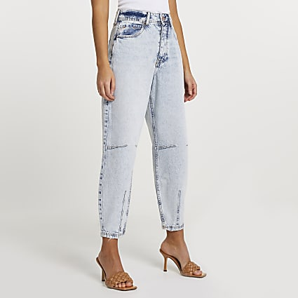 Blue high waisted tapered jean