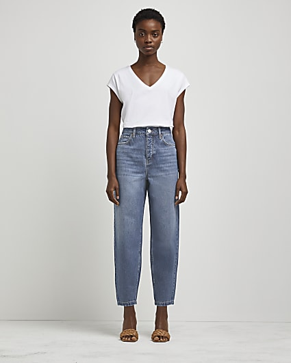 Blue high waisted tapered jeans
