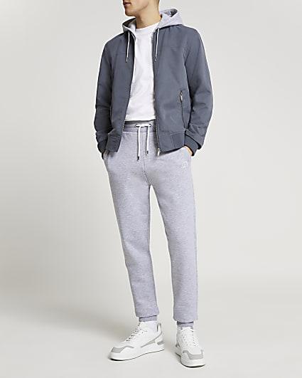 Blue hooded bomber jacket
