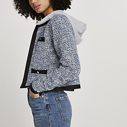 Blue hooded boucle long sleeve jacket