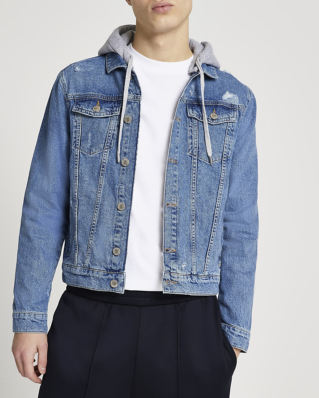 Blue hooded denim jacket