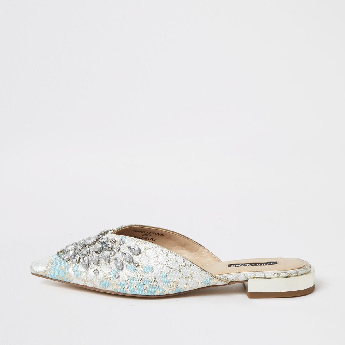 Blauwe verfraaidejacquard sandalen met puntteen