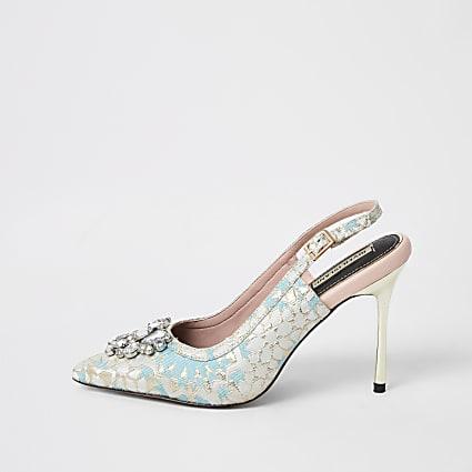 Blue jacquard embellished sling back heels