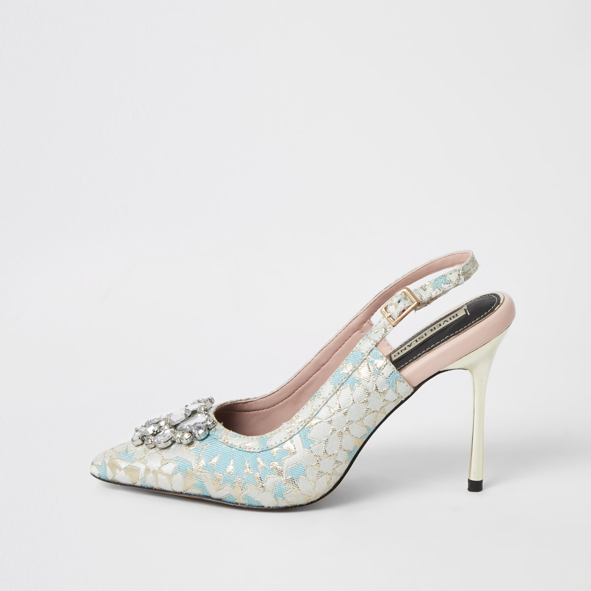 Chaussuresà talons et bride arrièreen jacquard ornébleu
