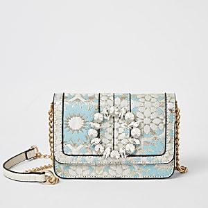 Blaue Jacquard-Tasche mit Schmucksteinen