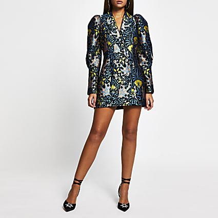 Blue jacquard Long puff sleeve blazer dress
