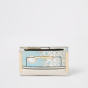 Blauwe uitvouwbare mini jacquard portemonnee