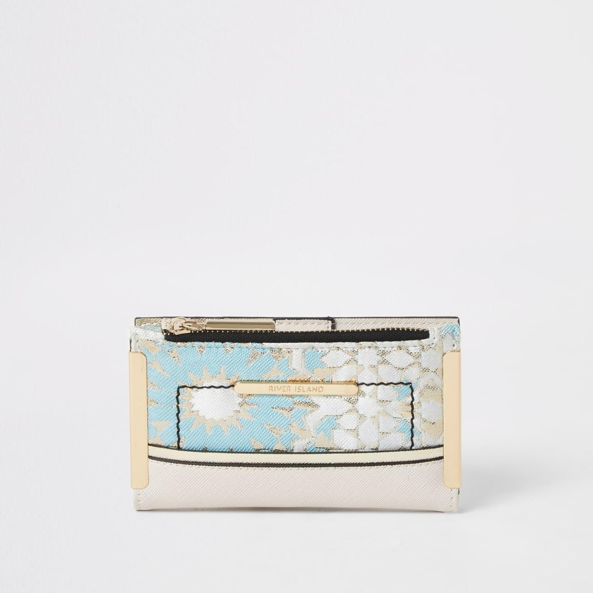 Mini-portefeuille à rabat tissé en jacquard bleu