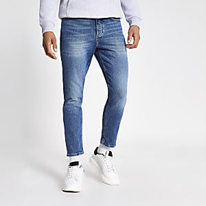 Blauwe smaltoelopende cropped Jimmy jeans