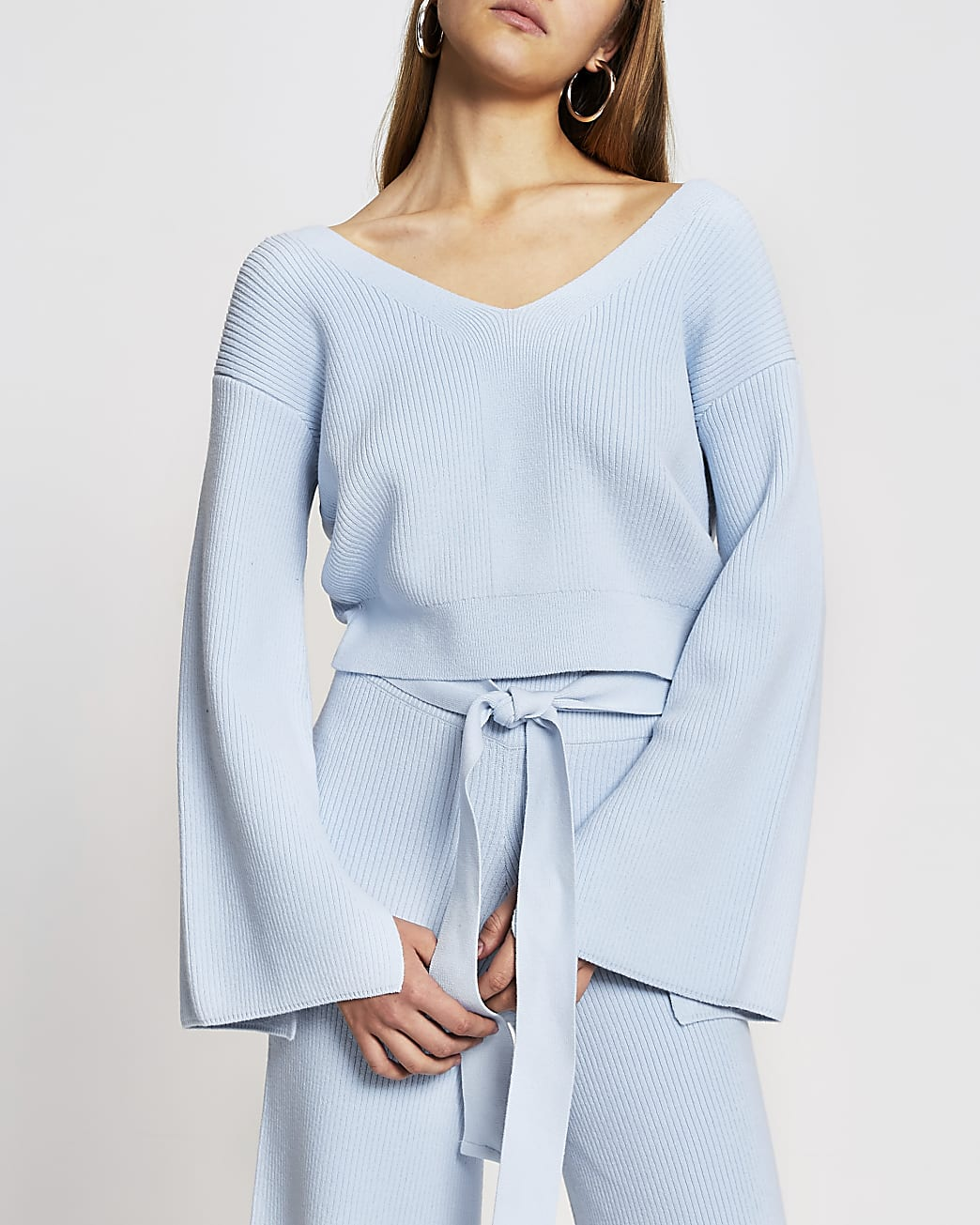 Blue knitted bow back loungewear top
