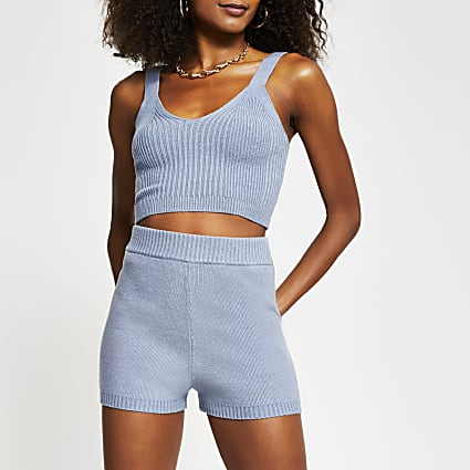 Blue knitted cycling shorts