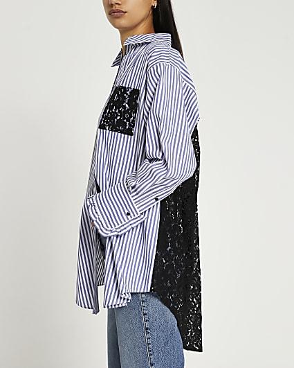 Blue lace detail shirt