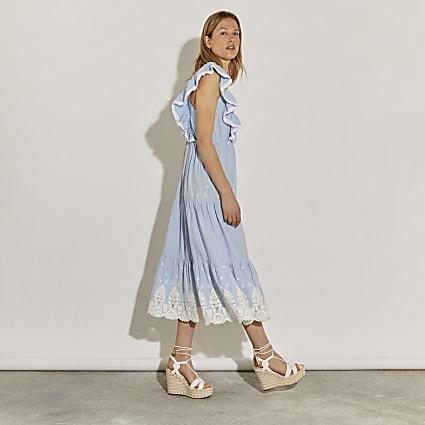 Blue lace trim midi dress