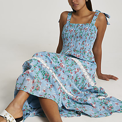 Blue lace trim tiered maxi dress