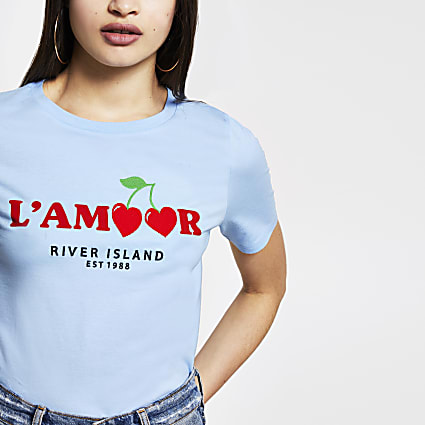 Blue 'L'amour' RI short sleeve t-shirt