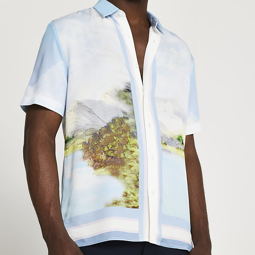 Blue landscape short sleeve shirt