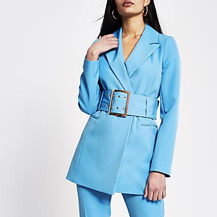 Blue large belted longline blazer
