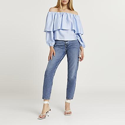 Blue layered frill bardot top