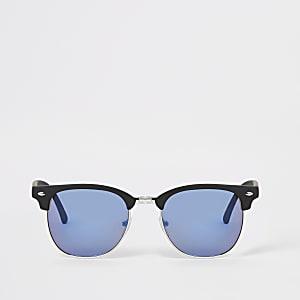 Zwarte zonnebril met retro montuur en blauwe glazen