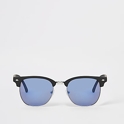 Blue lens retro frame sunglasses
