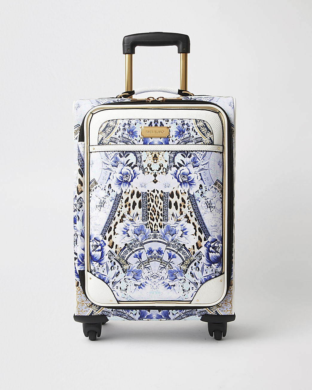 Blue leopard print four wheel suitcase