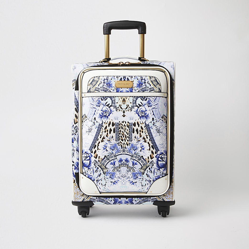 Blue leopard print four wheel suitcase