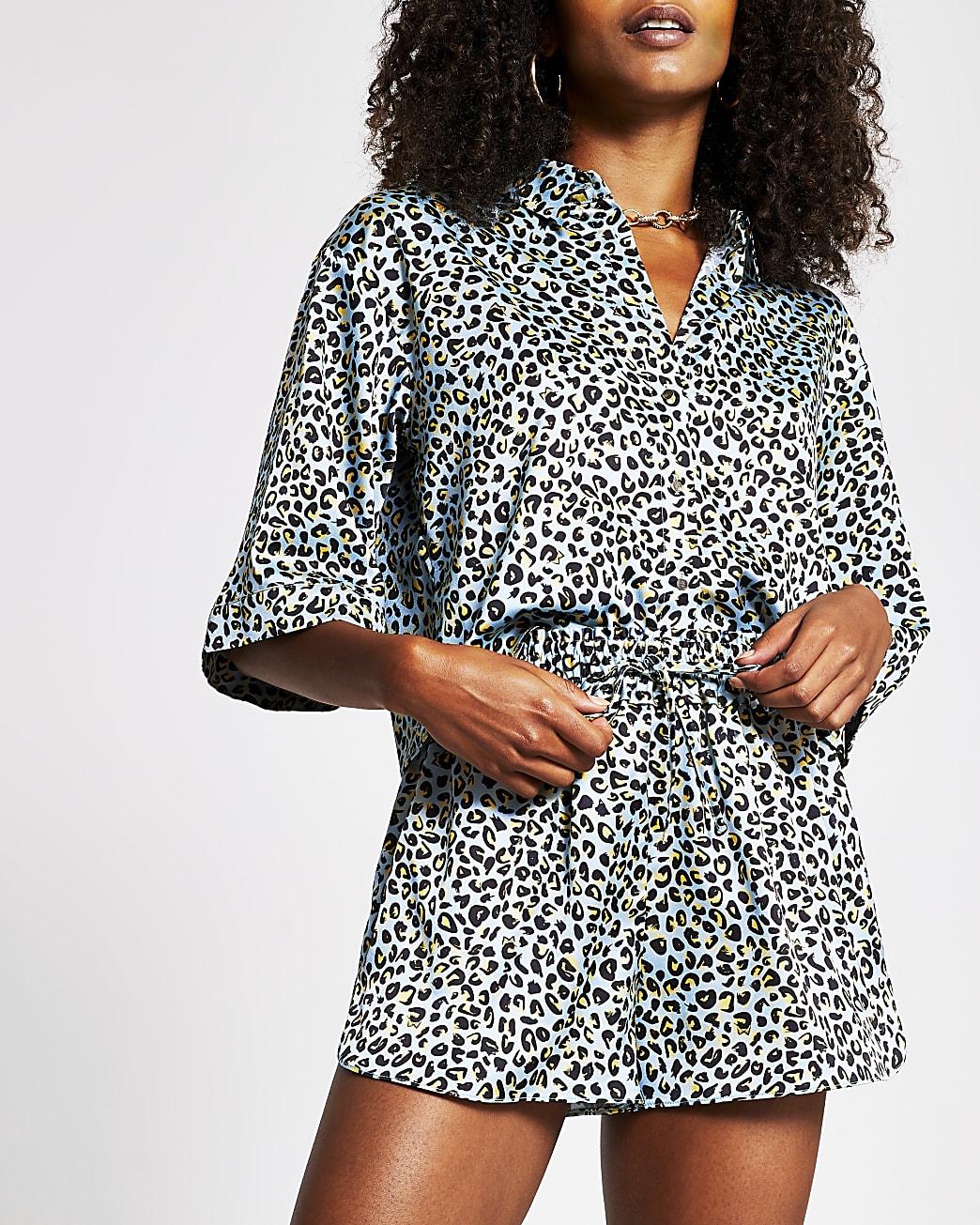Blue leopard print runner shorts