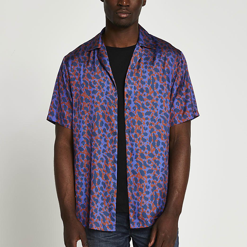 Blue leopard print short sleeve shirt
