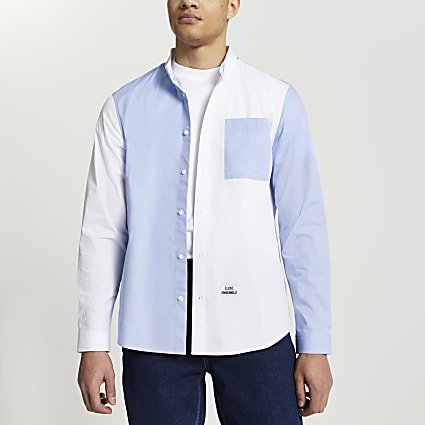 Blue 'Les Ensemble' colour block poplin shirt