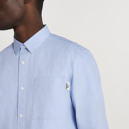 Blue 'Les Ensemble' long sleeve poplin shirt
