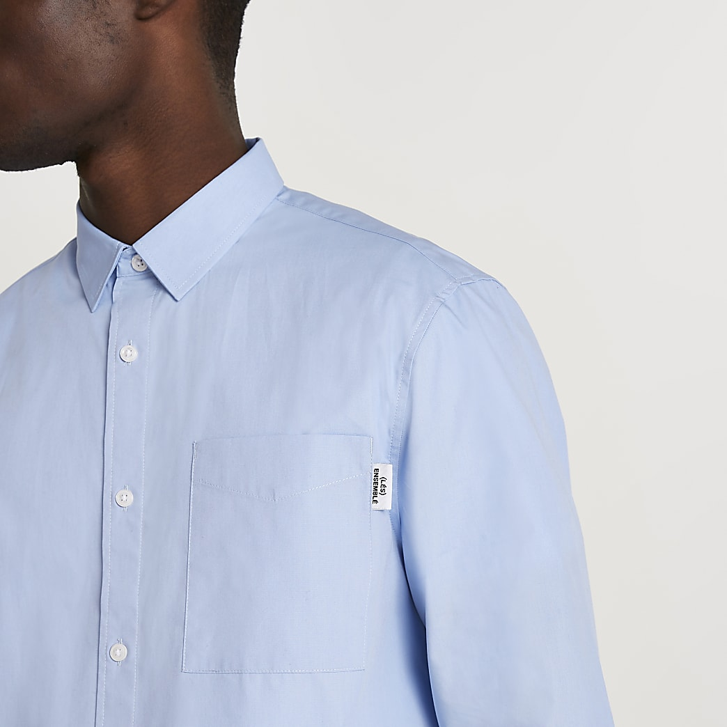 Blue 'Les Ensemble' long sleeve poplin shirt