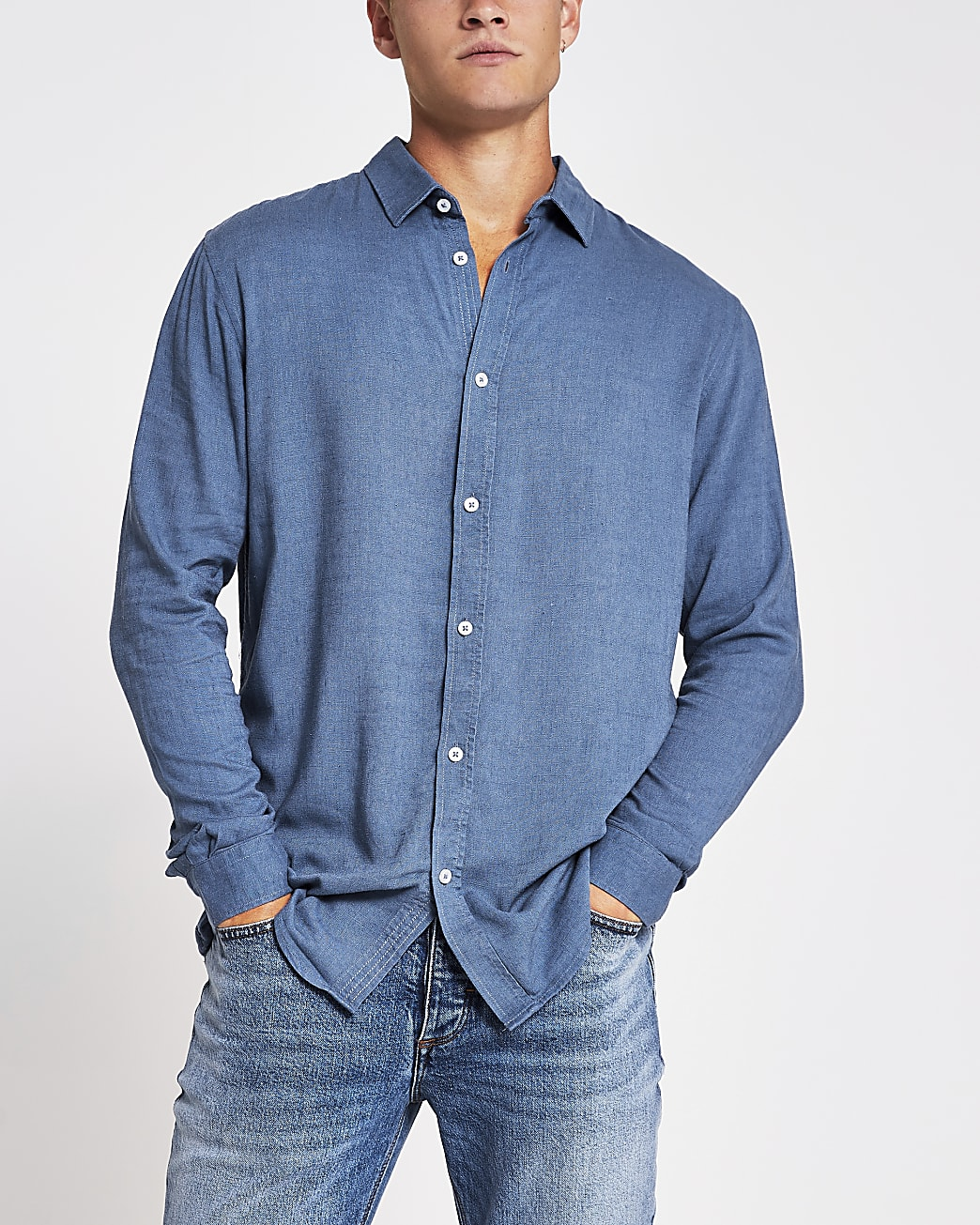 Blue linen regular fit long sleeve shirt