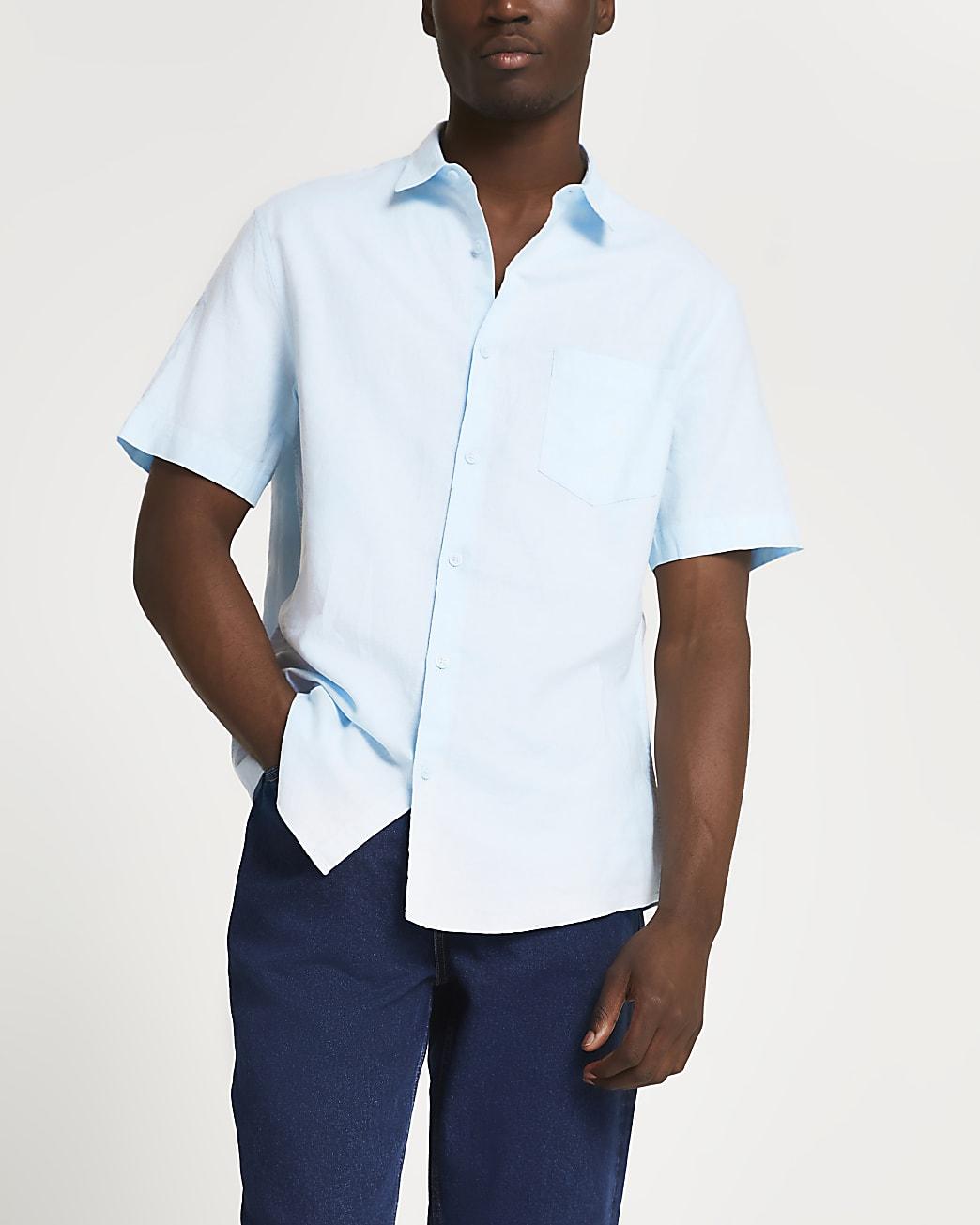 Blue linen regular fit short sleeve shirt