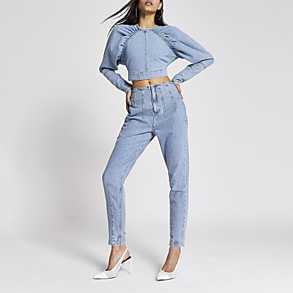 Blue long puff sleeve denim cropped top