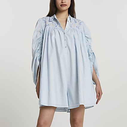 Blue long rouched sleeve embroidery romper