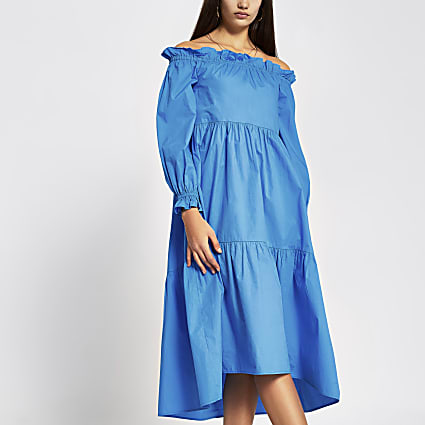 Blue long sleeve bardot midi dress