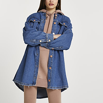 Blue long sleeve batwing denim shirt dress