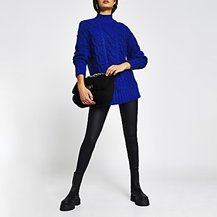 Blue long sleeve cable knit jumper