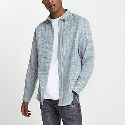 Blue long sleeve check regular fit shirt