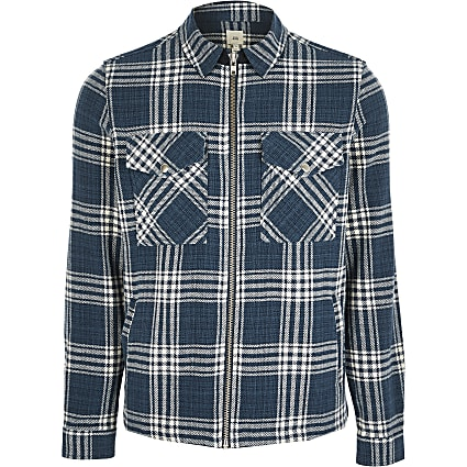 Blue long sleeve check shacket