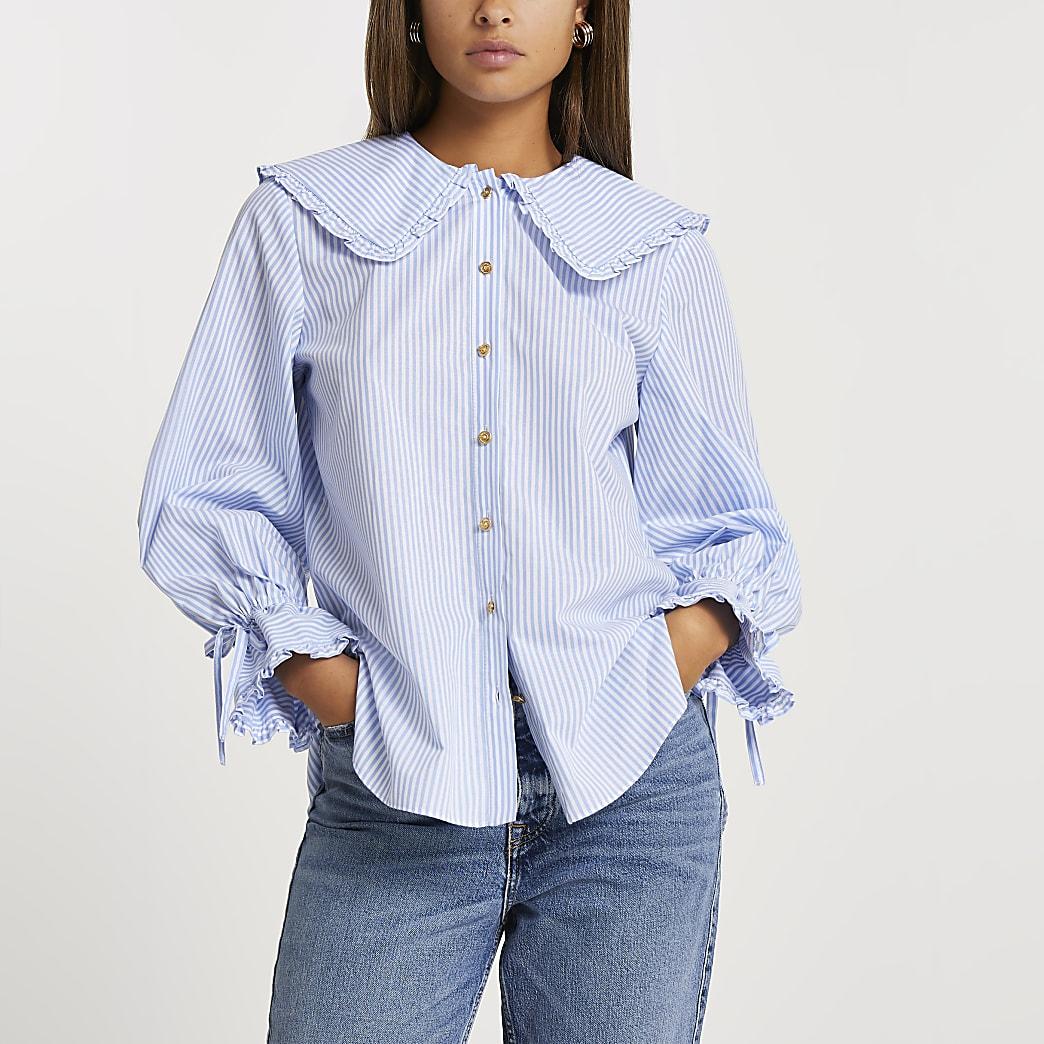 Blue long sleeve collar shirt