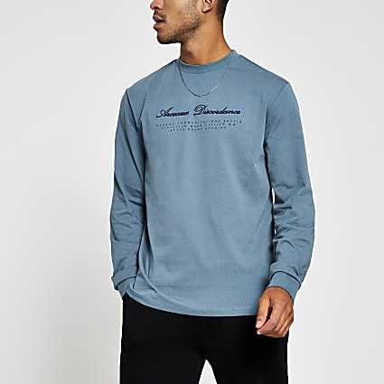 Blue long sleeve crew neck Japanese print top