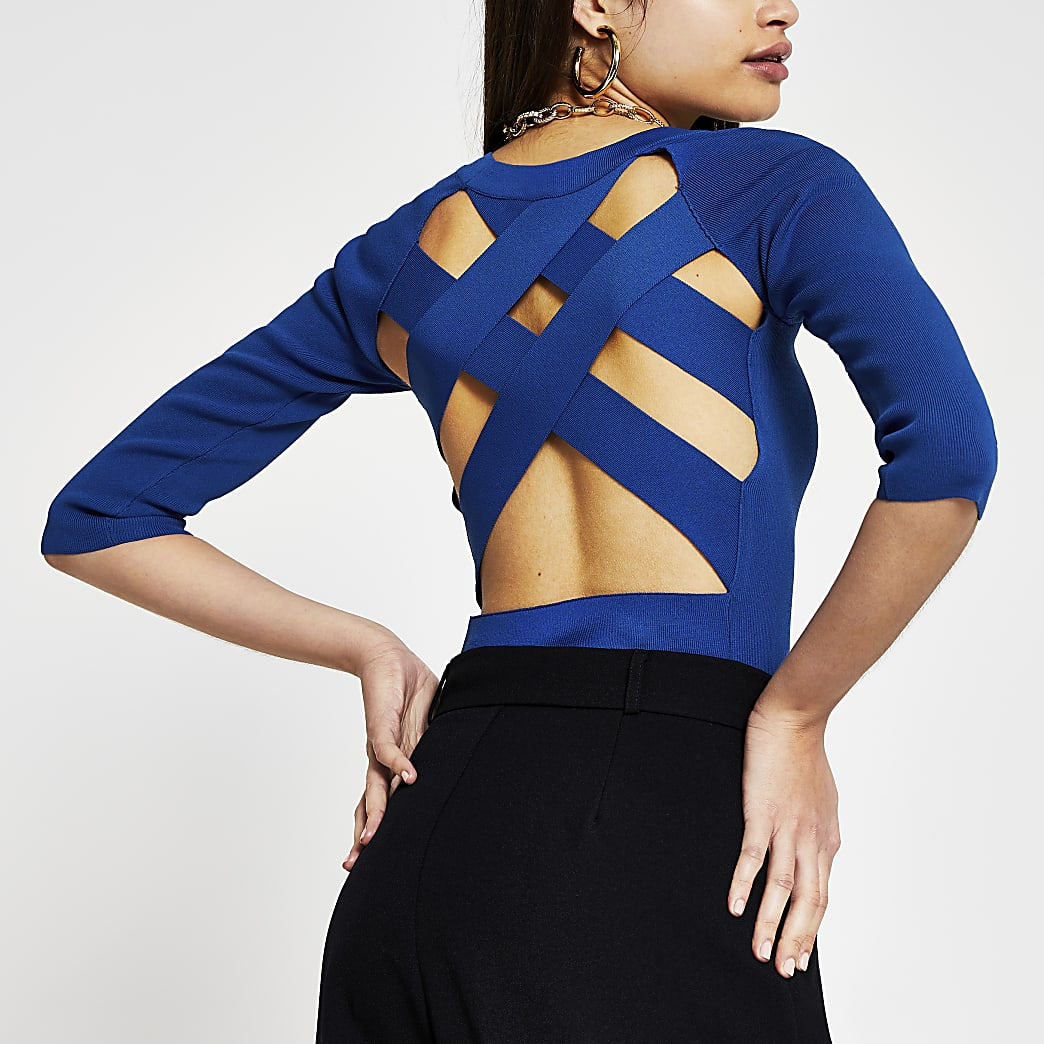 Blue long sleeve cross back top