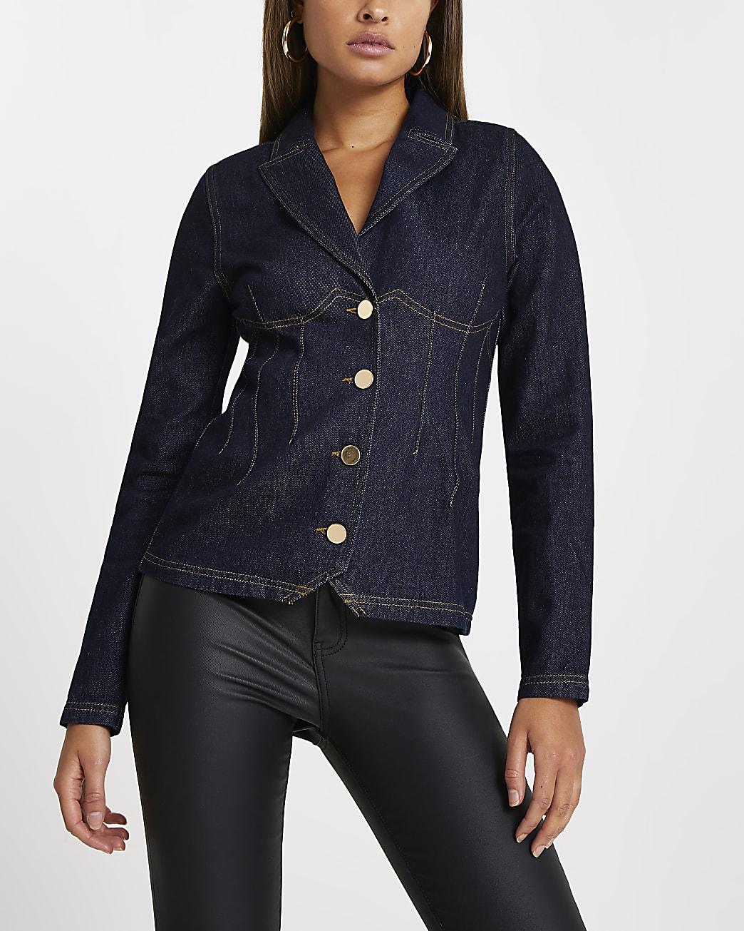 Blue long sleeve denim blazer