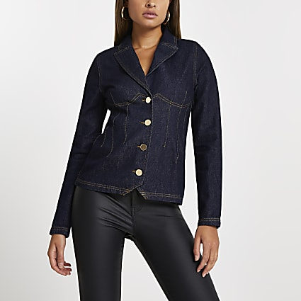 Blue long sleeve denim blazer