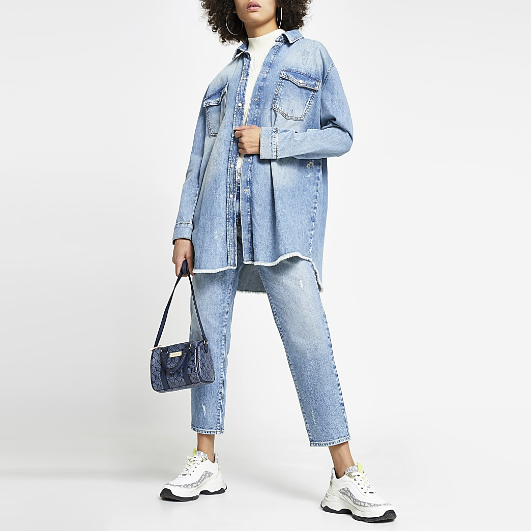 Blue long sleeve denim shacket