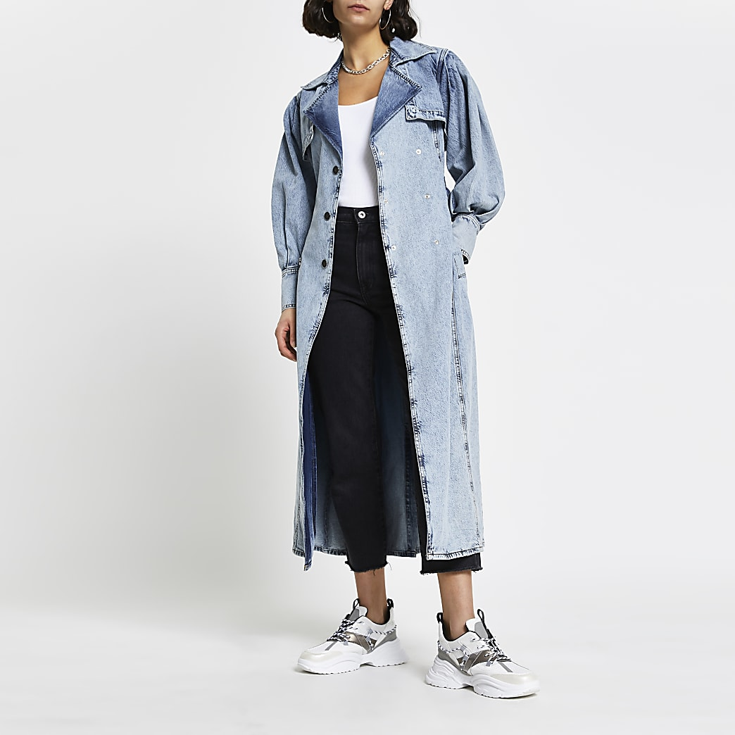 Blue long sleeve denim trench jacket