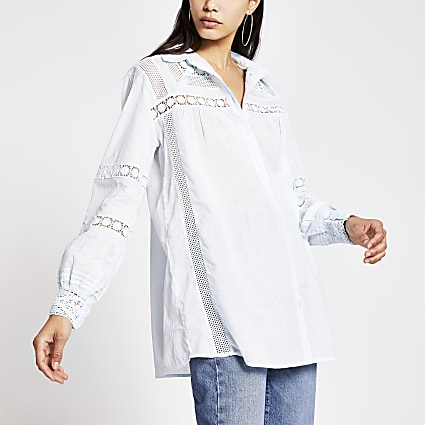 Blue long sleeve embroidered detail shirt