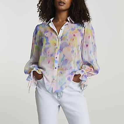 Blue long sleeve floral shirt